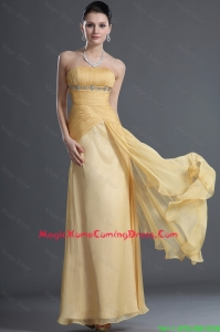 Discount Beading and Ruching Homecoming Dresses in Gold for 2016
