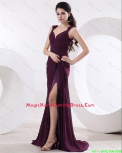 Most Popular Straps Brush Train Long Purple Homecoming Dresses with High Slit