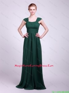 Hot Sale Straps Brush Train Lovely Perfect Homecoming Dresses in Dark Green