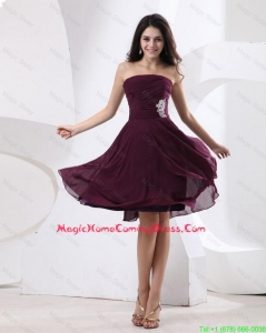 Luxurious Strapless Brown Short Homecoming Dress with Appliques