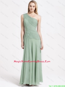Perfect One Shoulder Ankle Length Homecoming Dresses with Empire