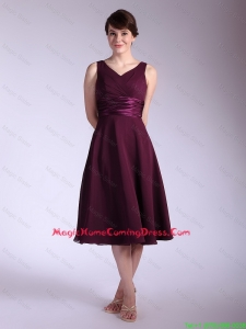Perfect V Neck Tea Length Lovely Perfect Homecoming Dresses with Ruching