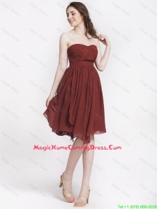 Popular Chocolate Sweetheart Lovely Perfect Homecoming Dresses with Ruching