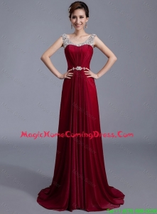 Pretty Cheap Brush Train Scoop Zipper Up Homecoming Dresses in Wine Red