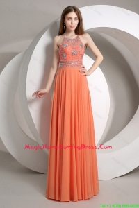 Pretty Elegant Beaded Empire Orange Homecoming Dresses with Halter Top