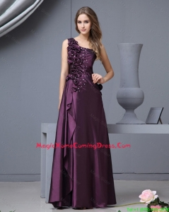 Pretty Elegant One Shoulder Beaded Homecoming Dresses with Hand Made Flowers