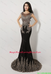 Pretty Gorgeous Mermaid Appliques and Beaded Homecoming Dresses in Black