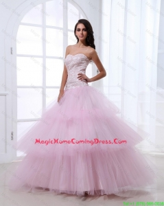 Pretty Wonderful Sweetheart Baby Pink Homecoming Dresses with Sequins and Ruffled Layers