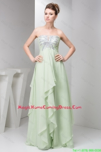 Simple Strapless Sequins Long Homecoming Dresses