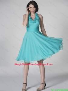 The Super Hot Halter Top Turquoise Lovely Perfect Homecoming Dresses with Ruffles