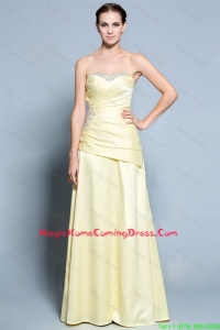 Wonderful Column Sweetheart Homecoming Dresses with Beading in Light Yellow