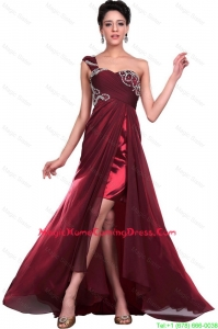 Wonderful One Shoulder Wine Red Homecoming Dresses with Beading for 2016