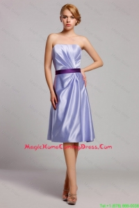 Cheap Classical Empire Strapless Short Homecoming Dresses with Belt in Lavender