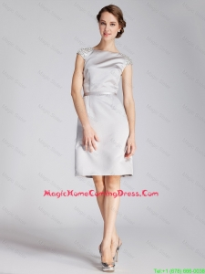 Cheap Silver Bateau Short Homecoming Dresses with Beading and Belt