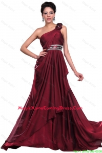 Cheap Wine Red Long Homecoming Dress with Beading and Hand Made Flowers
