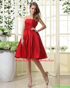 Comfortable Ruching and Pleats Short Homecoming Dresses in Red