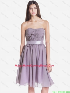 Exquisite Strapless Short Homecoming Dresses with Belt and Ruching