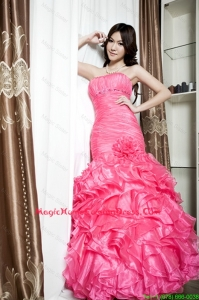 Affordable Beading and Ruffles Mermaid Homecoming Dresses in Coral Red