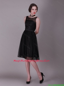 Best Selling 2016 Bateau Belt Laced Homecoming Gowns in Black