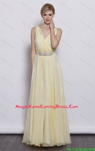 Classical V Neck Empire Homecoming Dresses with Sash