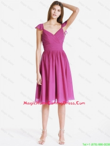 Perfect V Neck Ruching and Pleats Short Homecoming Dresses