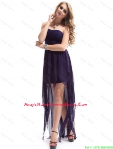 Most Popular Strapless Backless Lovely Homecoming Dresses with High Low