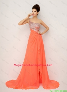 New Arrivals One Shoulder Vintage Homecoming Dresses with High Slit and Sequins
