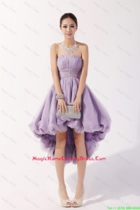 Romantic Strapless High Low Lavender Homecoming Dresses with Beading