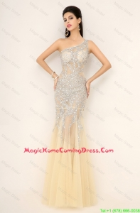 Beautiful Elegant Champagne One Shoulder Homecoming Dresses with Side Zipper
