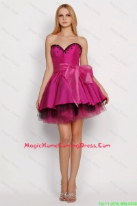 Cheap 2016 Modest A Line Sweetheart Homecoming Dresses with Sashes in Fuchsia