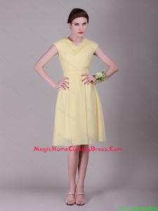 Cheap Beautiful Empire High Neck Cap Sleeves Homecoming Dresses with Ruching