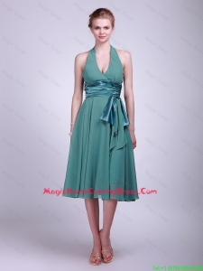 Cheap Discount Halter Top Short Turquoise Homecoming Dresses with Ribbons