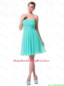 Cheap Discount Strapless Mini Length Homecoming Dresses in Turquoise