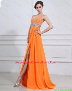 Exquisite Beading and High Slit Orange Lovely Homecoming Dresses with Brush Train
