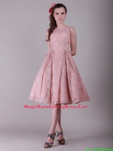 Fashionable Ruching Lace Homecoming Dresses in Peach