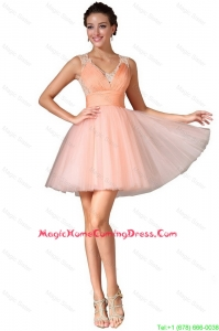 Luxurious V Neck Homecoming Gowns with Lace and Ruching