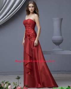 Modern Column Strapless Lovely Homecoming Dresses with Ruching and Hand Made Flowers