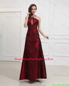 Most Popular Straps Burgundy Lovely Homecoming Dress with Beading for 2016