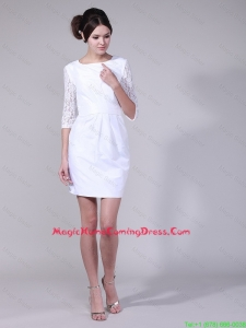 Pretty Fashionable Column Bateau Laced Half Sleeves Homecoming Dresses in White