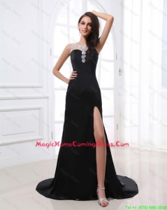 Romantic Column Scoop Beading and Sequins Lovely Homecoming Dresses with High Slit