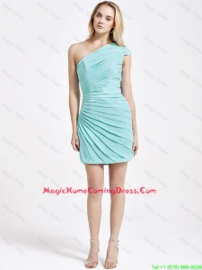 Romantic Short One Shoulder Ruching Homecoming Dress in Turquoise