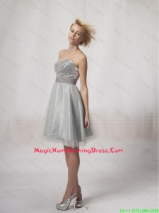 Wonderful Short Silver Homecoming Dresses Sequins and Belt Silver