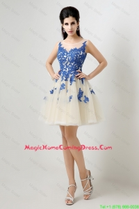Cheap New Arrivals A Line Bateau Homecoming Dresses with Appliques