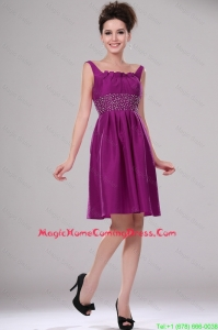 Discount Short Straps Beaded Homecoming Dresses in Fuchsia