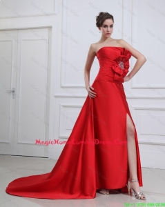 Exquisite Straples Beading and Bowknot Red Lovely Homecoming Dresses with Brush Train