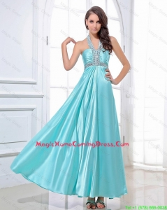 Gorgeous Halter Top Beading Ankle Length Aqua Blue Homecomin Dresses