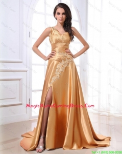 Gorgeous Ruching and Appliques Gold Homecoming Dresses with Brush Train
