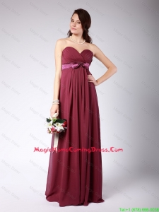 Gorgeous Sweetheart Burgundy Homecoming Dress with Belt and Bowknot