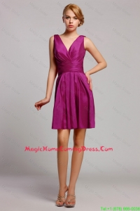 Most Popular V Neck Ruching Short Homecomin Dressess