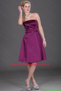 Popular Strapless Eggplant Purple Homecoming Dresses with Belt